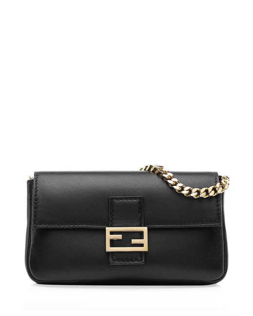 Fendi | Black Micro Baguette Nappa Leather Bag | Lyst