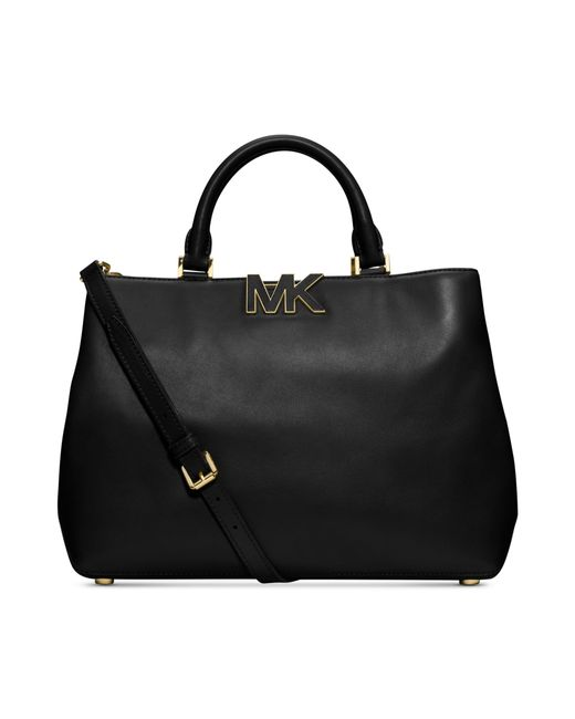 Michael Kors | Black Brooklyn Large Grommet Suede And Leather Crossbody | Lyst
