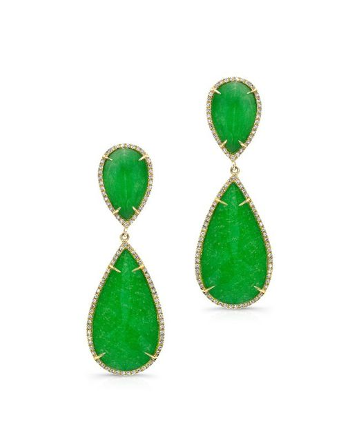 Anne Sisteron | Green 14kt Yellow Gold Jade Diamond Earrings | Lyst
