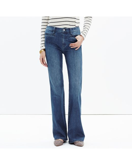 Madewell | Blue Short Flea Market Flare Jeans In Kara Wash | Lyst