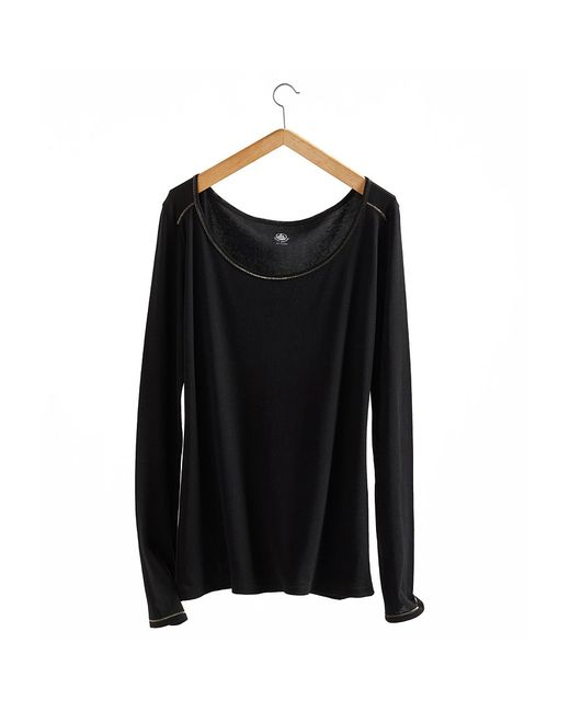 Petit Bateau | Black Women's Long-sleeved, Admiral-style Round Neck Tee In Light Cotton | Lyst