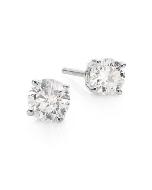 Saks Fifth Avenue | 0.5 Tcw Diamond & 18k White Gold Stud Earrings | Lyst