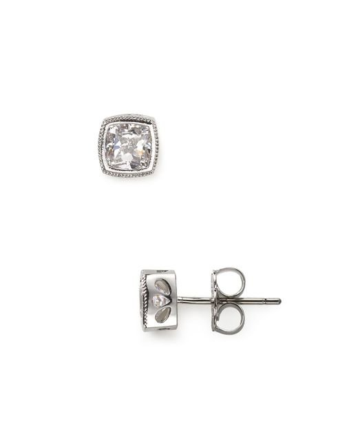 Nadri | Metallic Cushion Cut Stud Earrings | Lyst