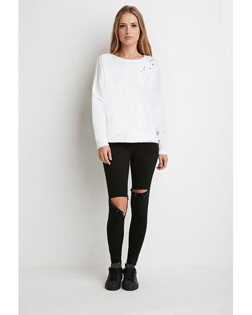 Forever 21   White Dolman-sleeve Distressed Sweatshirt   Lyst