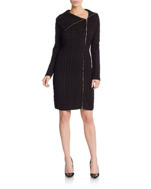 Calvin Klein   Black Cable-knit Sweater Dress   Lyst