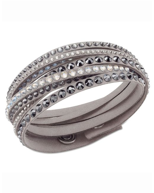Swarovski | Gray Crystal-accented Layered Bracelet In Grey | Lyst