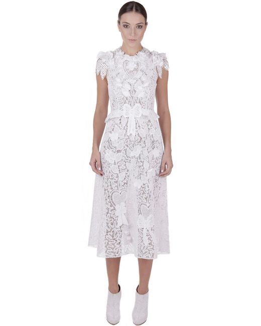 Martha medeiros Floral Cotton-Lace Dress in White | Lyst