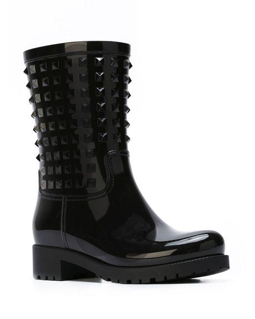 Valentino | Black 'rockstud' Pvc Rainboots | Lyst