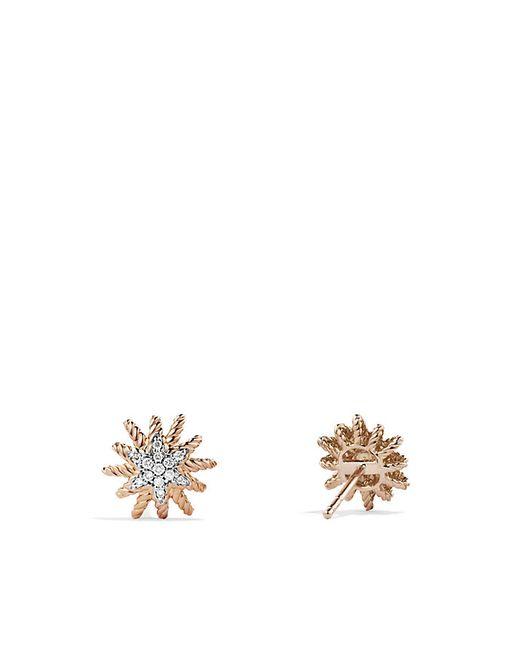 David Yurman | Pink Starburst Earrings With Diamonds In 18k Rose Gold, 10mm | Lyst