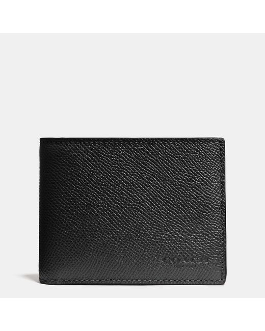 COACH | Black Slim Billfold Wallet In Crossgrain Leather for Men | Lyst