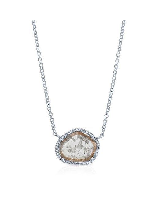 Anne Sisteron | Metallic 14kt White Gold Sliced Diamond Necklace | Lyst