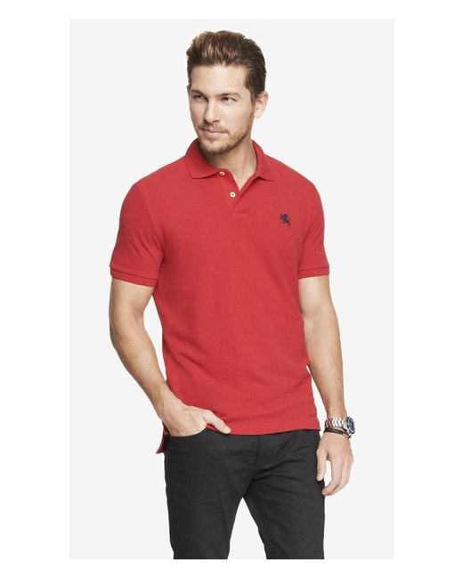 Express | Red Modern Fit Small Lion Pique Polo for Men | Lyst
