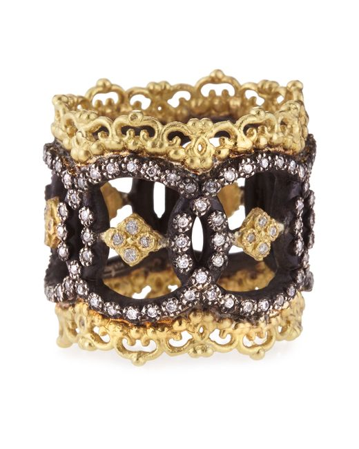 Armenta | Metallic Midnight & 18k Yellow Gold Open Scalloped Crivelli Ring With Diamonds | Lyst
