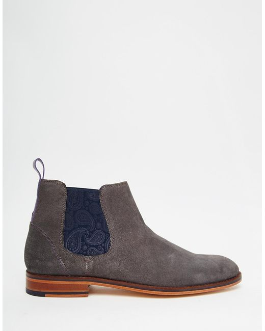 ted baker camroon suede chelsea boots in gray for men grey lyst. Black Bedroom Furniture Sets. Home Design Ideas