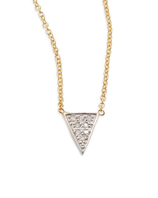 Kacey K | Metallic Diamond & 14k Gold Single Triangle Necklace | Lyst