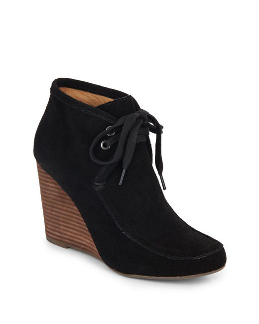 kelsi dagger martha suede lace up wedge ankle