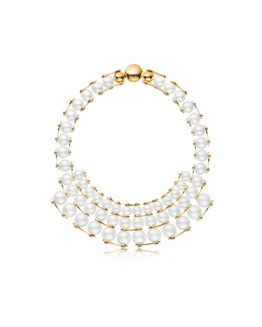 Louis Vuitton | White Lv Speedy Pearls Plastron Necklace | Lyst
