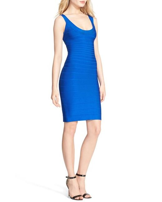 Hervé Léger | Blue U-neck Bandage Dress | Lyst