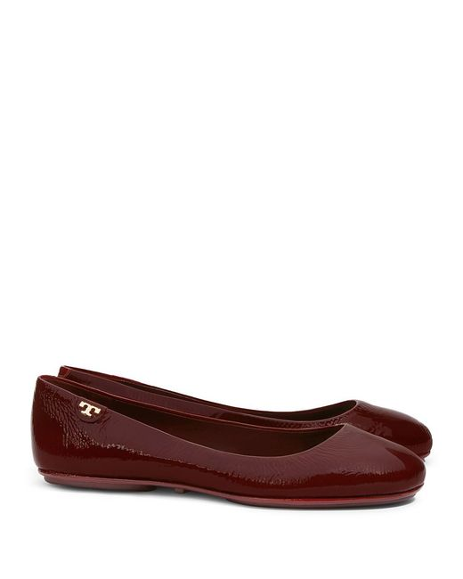 Tory Burch | Red Minnie Travel Ballet Flat, Patent | Lyst