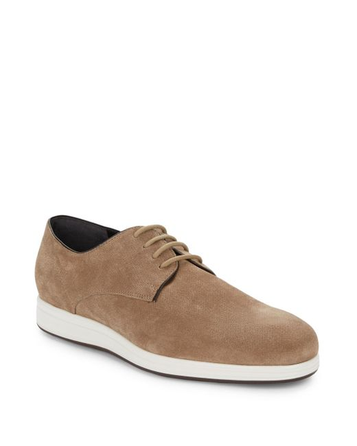 VINCE | Natural Yuri Embossed Suede Derby Shoes for Men | Lyst