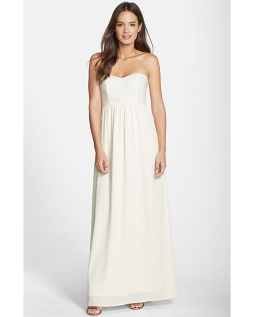 Paper Crown | Natural By Lauren Conrad 'breanna' Lace Bodice Crepe Gown | Lyst