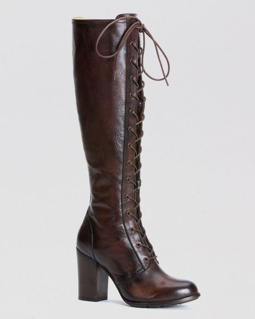 Frye Tall Lace Up Boots Parker In Brown Dark Brown Lyst