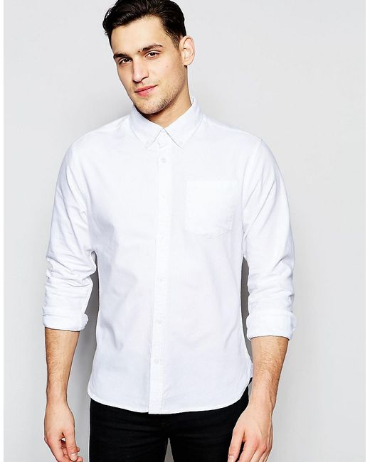 Bellfield oxford shirt with button down collar in white for White button down collar oxford shirt
