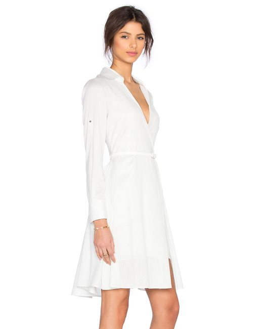 Halston heritage shirt dress in white lyst for Halston heritage shirt dress