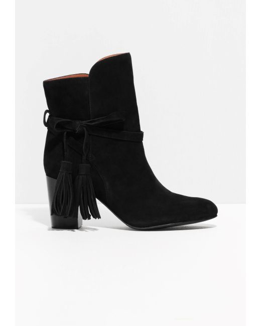 other stories tassel detail suede ankle boots in black