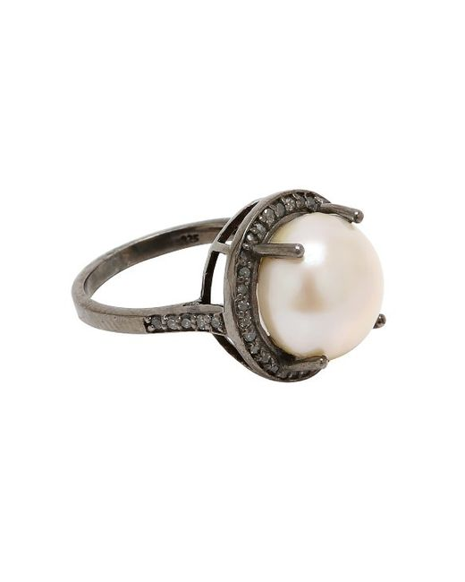 Adornia | White Freshwater Pearl And Champagne Diamond India Ring | Lyst