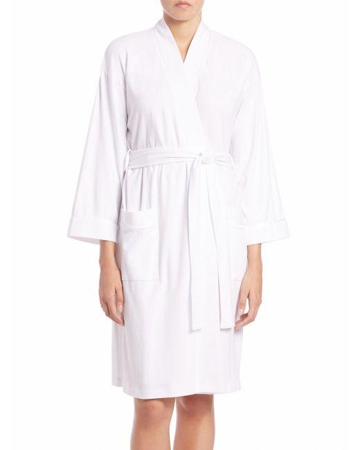 Saks Fifth Avenue | White Pima Cotton Jersey Robe | Lyst