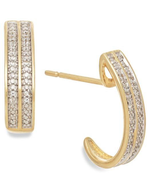 Macy's | Metallic Diamond (1/10 Ct. T.w.) Two-row C-hoop Earrings In 10k Gold | Lyst