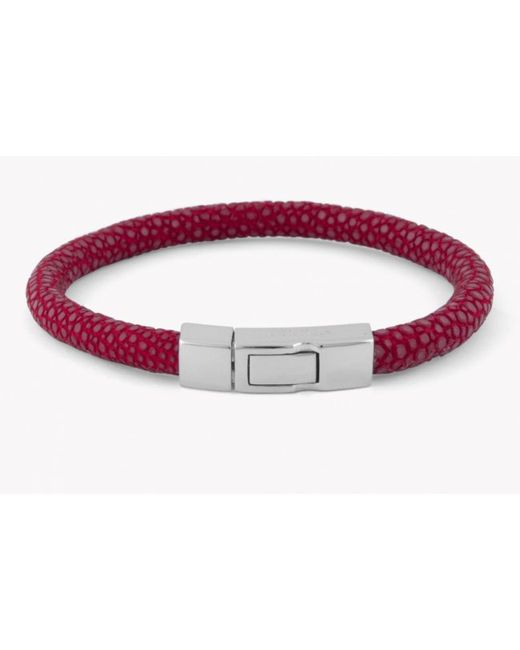 Tateossian | Galuchat Bracelet In Red Stingray Skin With Silver Clasp for Men | Lyst