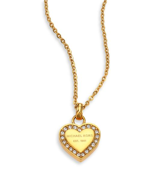 Michael Kors | Heritage Hearts Pave Logo Pendant Necklace/goldtone | Lyst