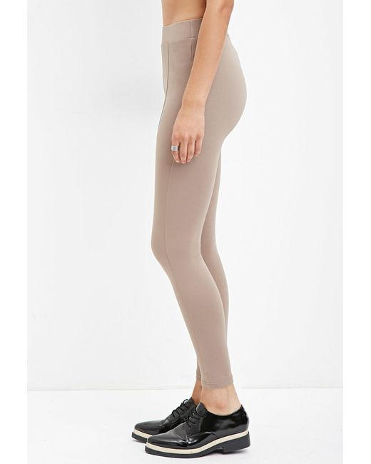 Forever 21 | Brown Seam-stitched Leggings | Lyst