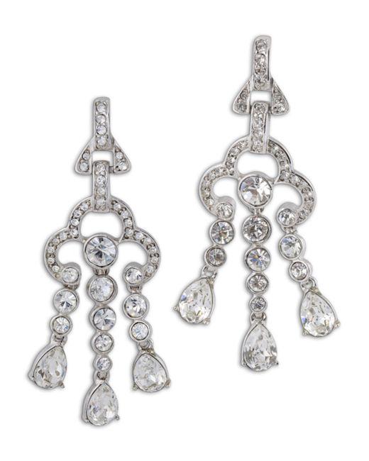Kenneth Jay Lane | Metallic 3 Row Crystal Drop Clip Earring | Lyst