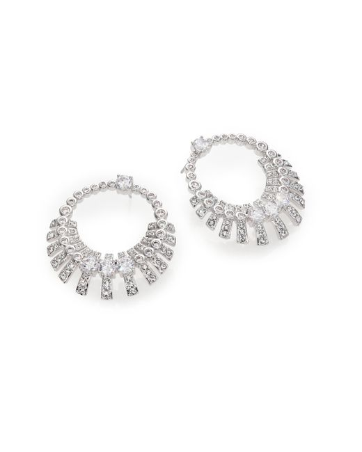Adriana Orsini | Metallic Decadence Crystal Drop Hoop Earrings | Lyst