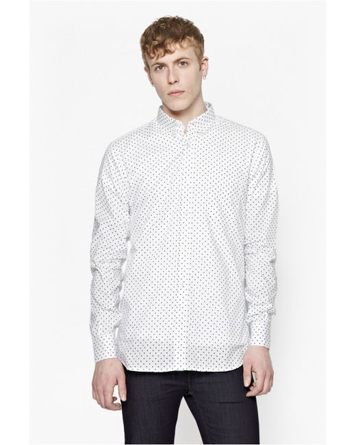 French connection polka dot slim fit long sleeve button for Slim fit polka dot shirt