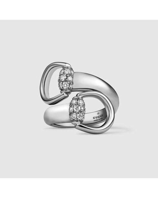 Gucci | Metallic White Gold Horsebit Ring | Lyst