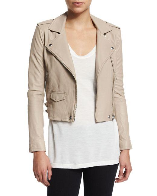 IRO | Gray Ashville Cropped Leather Jacket | Lyst