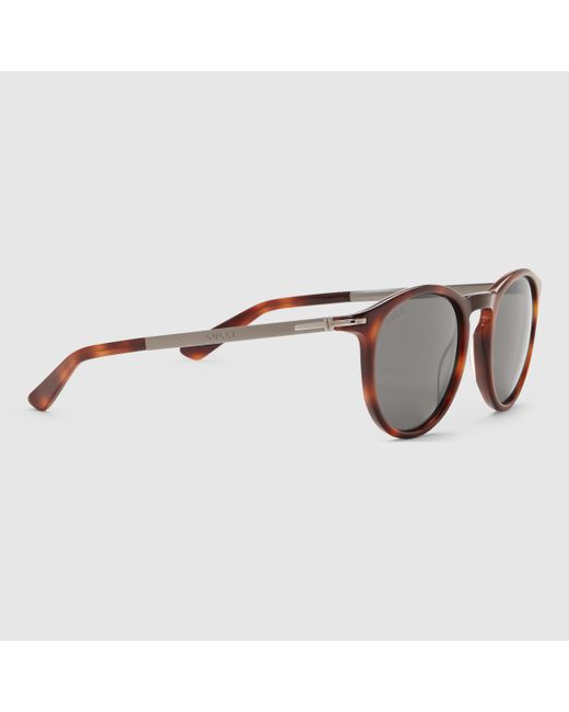e4d8dcf4f35 Gucci Men s Round Acetate Frame Sunglasses