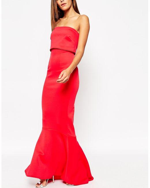 Asos Extreme Fold Fishtail Bandeau Scuba Maxi Dress In Red