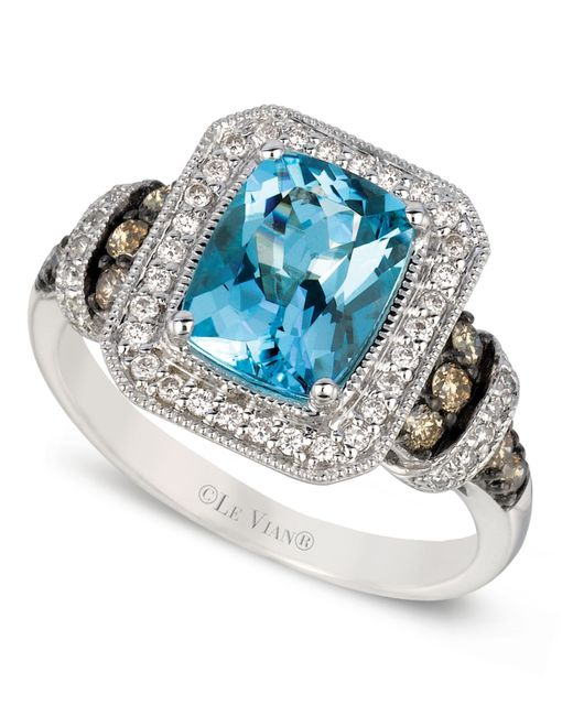 Le Vian | Blue Aquamarine (1-1/2 Ct.t.w.) White And Chocolate Diamond (3/8 Ct.t.w.) Ring In 14k White Gold | Lyst