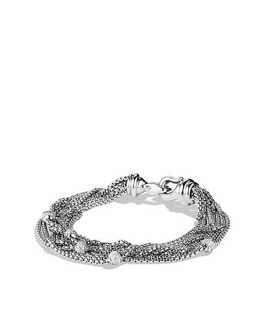 David Yurman | White Eight-row Chain Bracelet With Diamonds, 10mm | Lyst