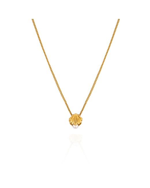 Lee Renee | Metallic Mini Shell & Pearl Necklace – Gold Vermeil | Lyst