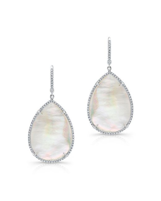 Anne Sisteron | 14kt White Gold Mother Of Pearl Diamond Pear Earrings | Lyst