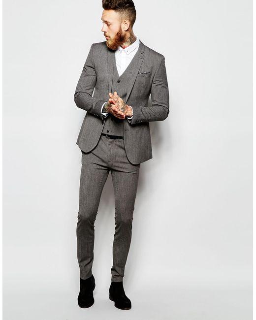 ASOS   Gray Super Skinny Vest In Salt And Pepper for Men   Lyst