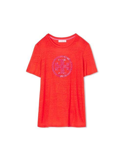 Tory burch demi t shirt in red lyst for Tory burch t shirt