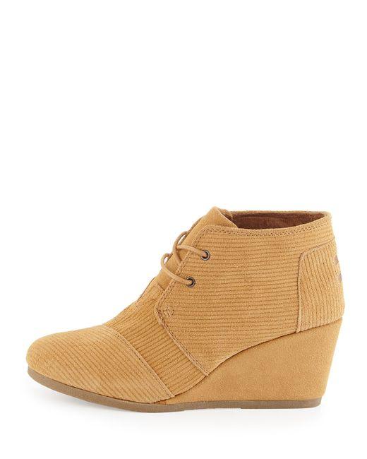 toms corduroy wedge desert boots in beige brown sugar lyst