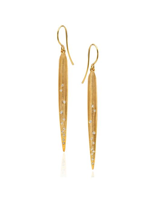 Catherine Zoraida | Metallic Blade Of Grass Earrings | Lyst